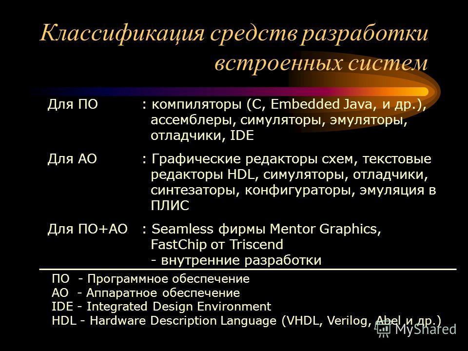 Классификация средств разработки встроенных систем Для ПО: компиляторы (C, Embedded Java, и др.), ассемблеры, симуляторы, эмуляторы, отладчики, IDE Для АО: Графические редакторы схем, текстовые редакторы HDL, симуляторы, отладчики, синтезаторы, конфи