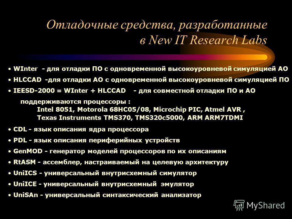 Отладочные средства, разработанные в New IT Research Labs WInter - для отладки ПО с одновременной высокоуровневой симуляцией АО HLCCAD -для отладки АО с одновременной высокоуровневой симуляцией ПО IEESD-2000 = WInter + HLCCAD - для совместной отладки