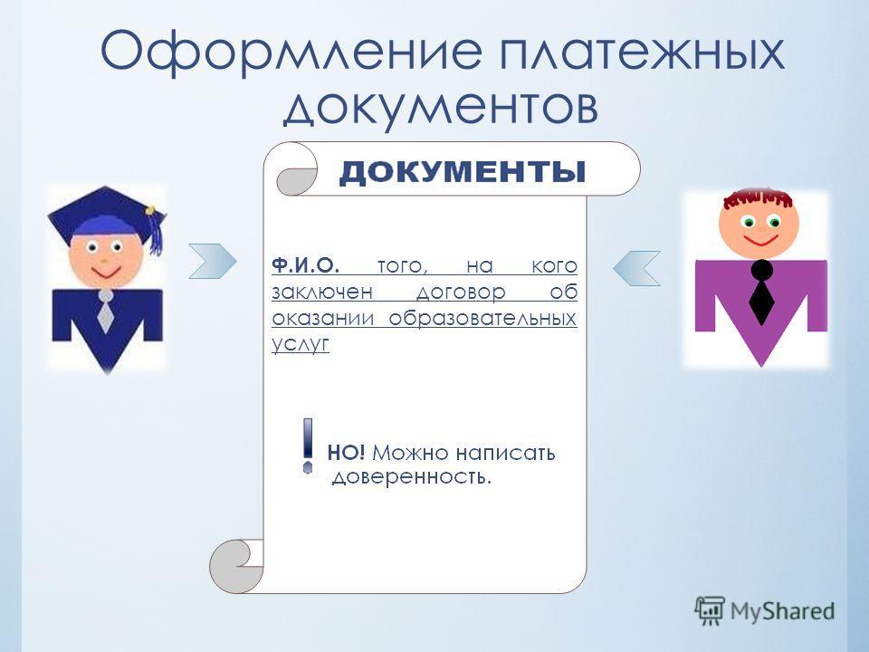 Оформление платежных документов Ф.И.О. того, на кого заключен договор об оказании образовательных услуг