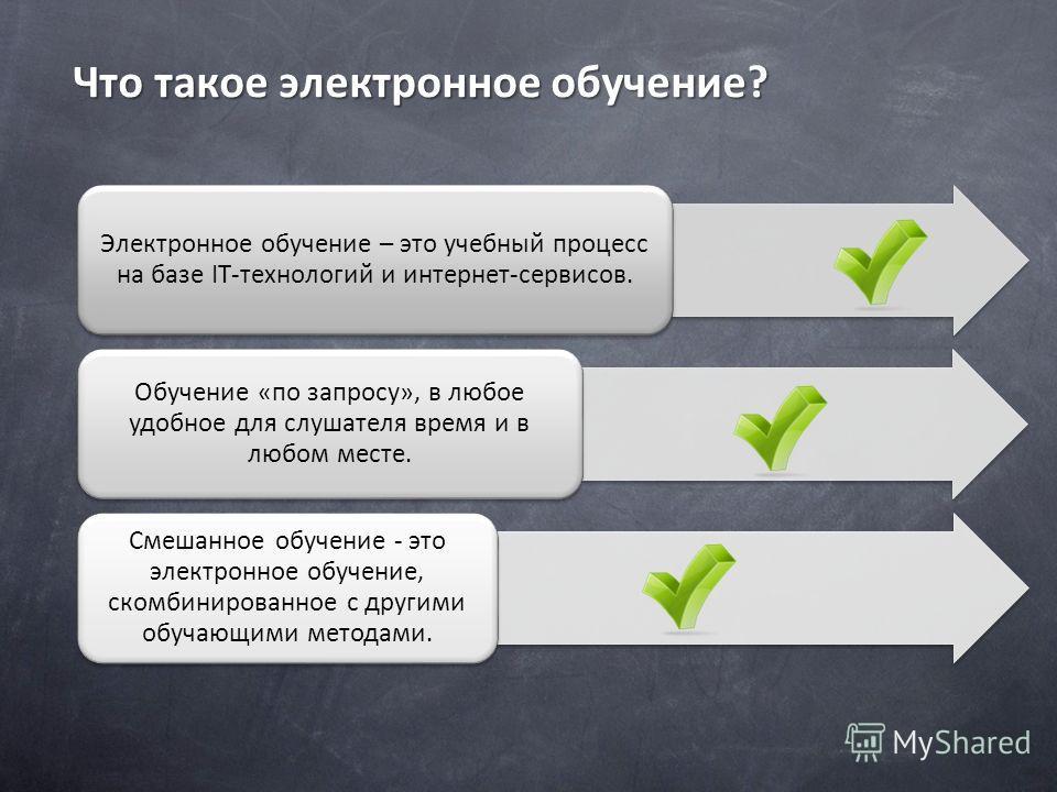 Что такое электронное обучение? Электронное обучение – это учебный процесс на базе IT-технологий и интернет-сервисов. Обучение «по запросу», в любое удобное для слушателя время и в любом месте. Смешанное обучение - это электронное обучение, скомбинир