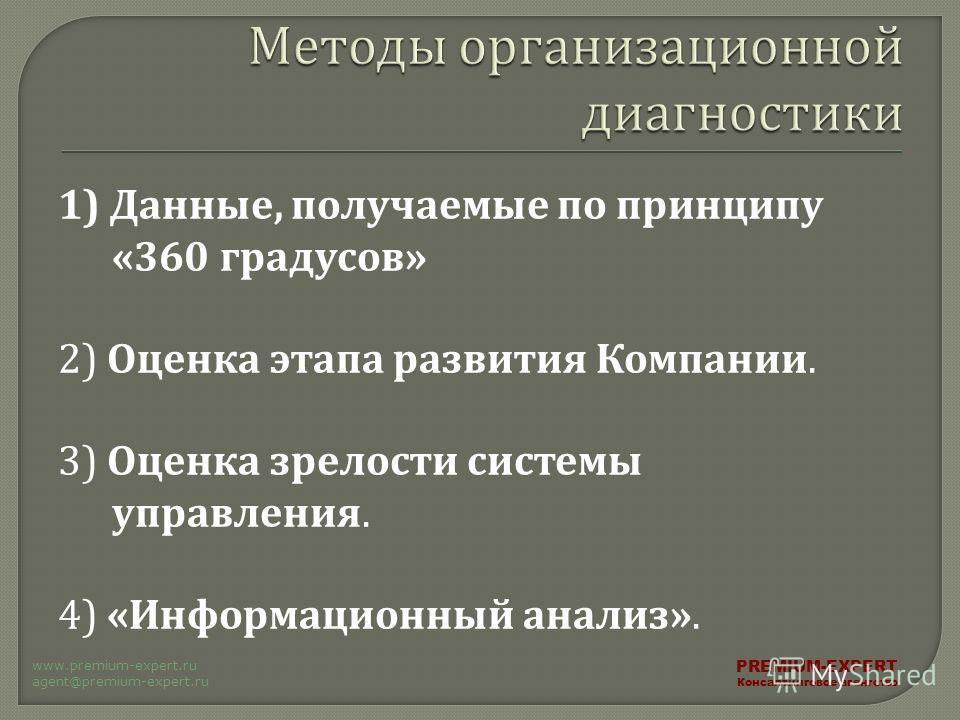 1) Данные, получаемые по принципу «360 градусов » 2) Оценка этапа развития Компании. 3) Оценка зрелости системы управления. 4) « Информационный анализ ». PREMIUM-EXPERT Консалтинговое агентство www.premium-expert.ru agent@premium-expert.ru