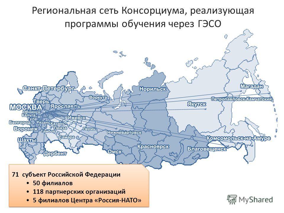Региональная сеть Консорциума, реализующая программы обучения через ГЭСО 71 субъект Российской Федерации 50 филиалов 118 партнерских организаций 5 филиалов Центра «Россия-НАТО» 71 субъект Российской Федерации 50 филиалов 118 партнерских организаций 5