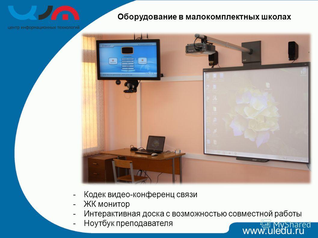 www.uledu.ru Оборудование в малокомплектных школах -Кодек видео-конференц связи -ЖК монитор -Интерактивная доска с возможностью совместной работы -Ноутбук преподавателя
