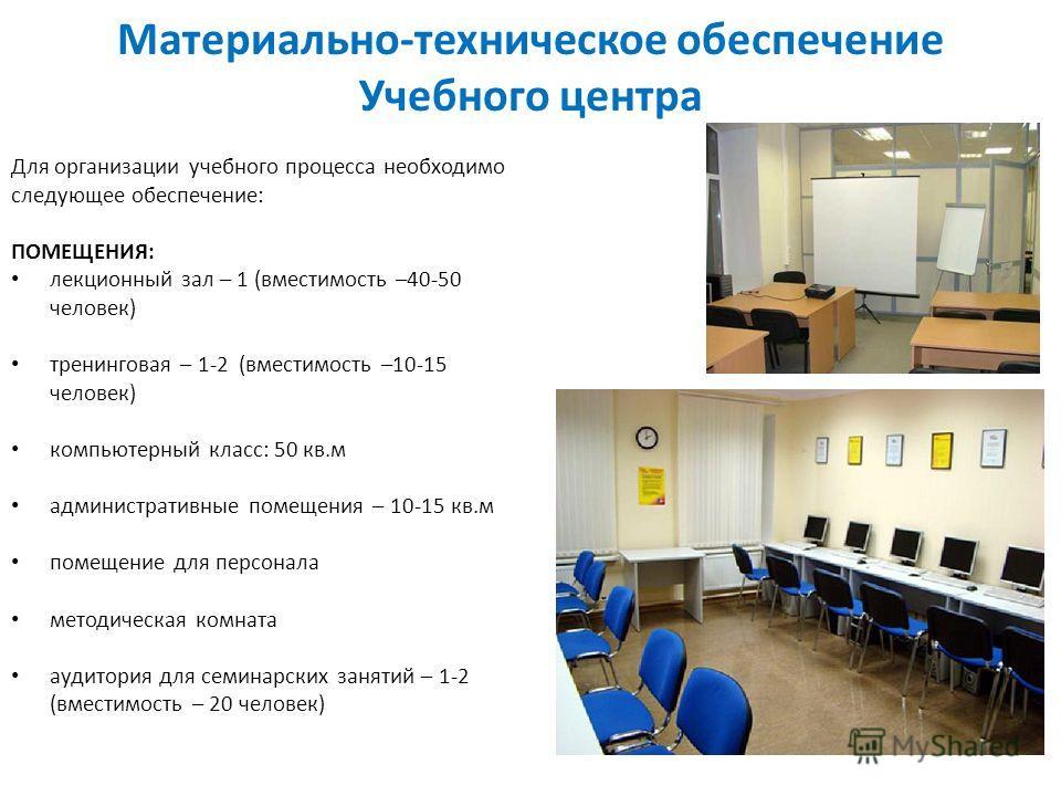 Для организации учебного процесса необходимо следующее обеспечение: ПОМЕЩЕНИЯ: лекционный зал – 1 (вместимость –40-50 человек) тренинговая – 1-2 (вместимость –10-15 человек) компьютерный класс: 50 кв.м административные помещения – 10-15 кв.м помещени