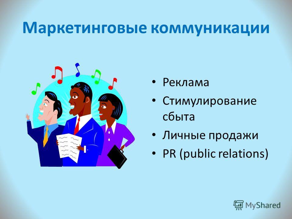Маркетинговые коммуникации Реклама Стимулирование сбыта Личные продажи PR (public relations)