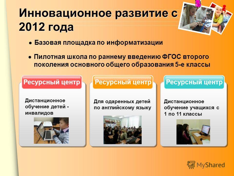 Инновационное развитие с 2012 года Ресурсный центр Пилотная школа по раннему введению ФГОС второго поколения основного общего образования 5-е классы Дистанционное обучение детей - инвалидов Для одаренных детей по английскому языку Дистанционное обуче
