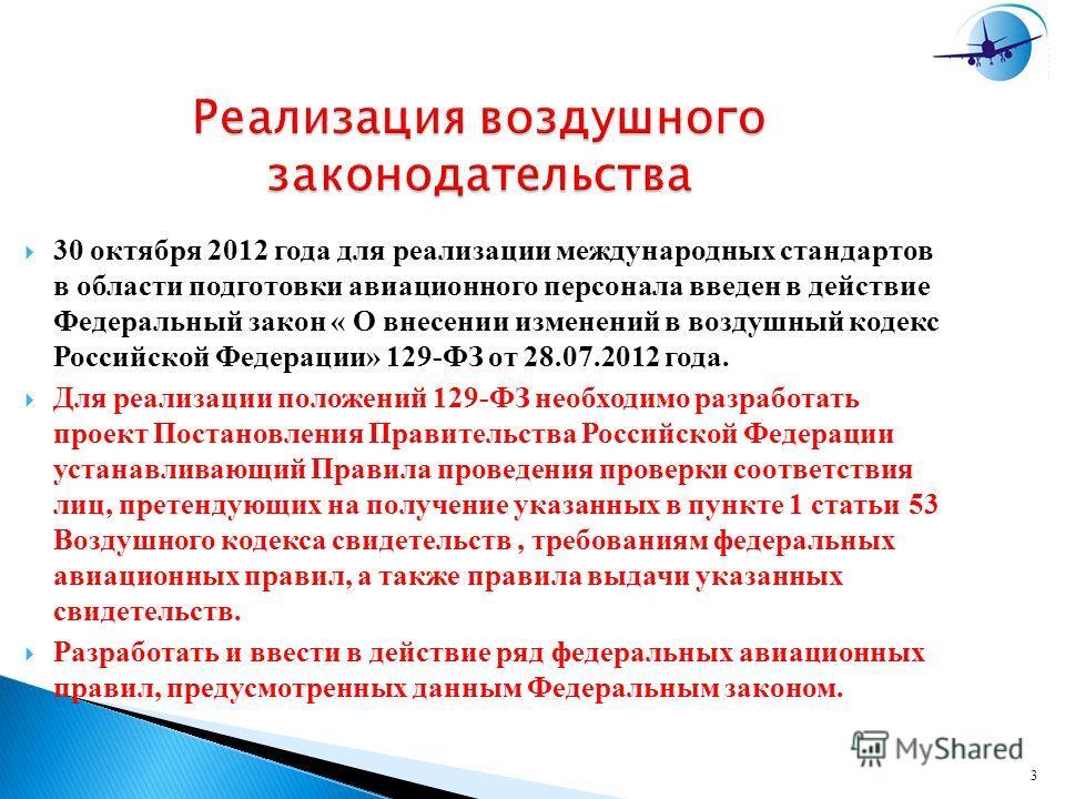 3 Реализация воздушного законодательства 30 октября 2012 года для реализации международных стандартов в области подготовки авиационного персонала введен в действие Федеральный закон « О внесении изменений в воздушный кодекс Российской Федерации» 129-