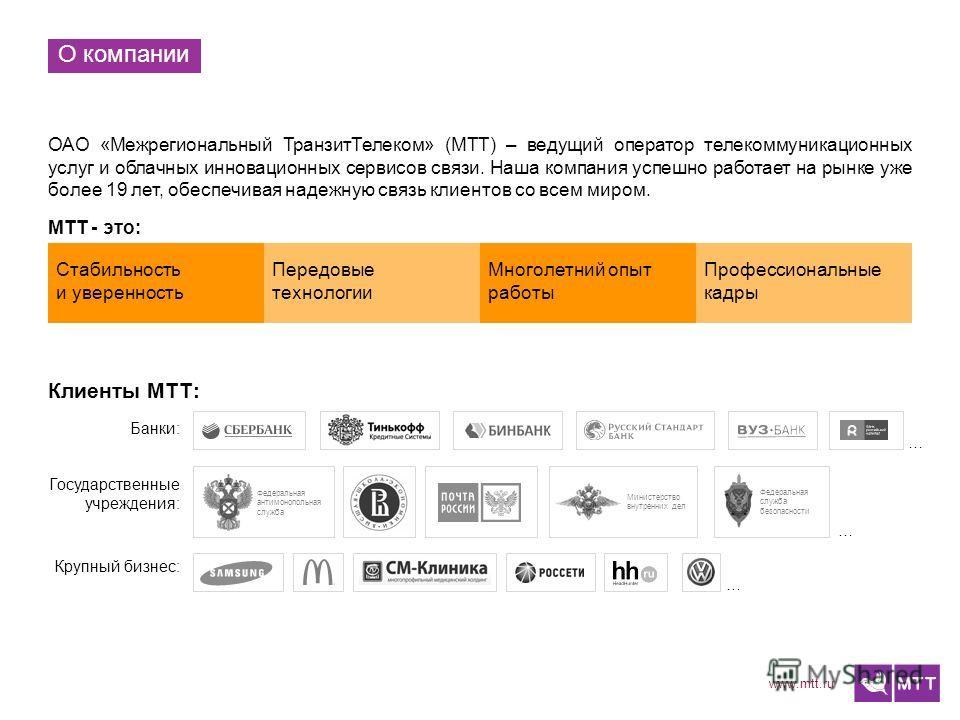 www.mtt.ru О компании ОАО «Межрегиональный ТранзитТелеком» (МТТ) – ведущий оператор телекоммуникационных услуг и облачных инновационных сервисов связи. Наша компания успешно работает на рынке уже более 19 лет, обеспечивая надежную связь клиентов со в
