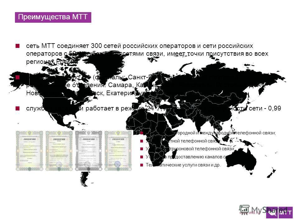 www.mtt.ru Преимущества МТТ сеть МТТ соединяет 300 сетей российских операторов и сети российских операторов с 50 зарубежными сетями связи, имеет точки присутствия во всех регионах России обслуживание по РФ (филиалы: Санкт-Петербург, Нижний Новгород,