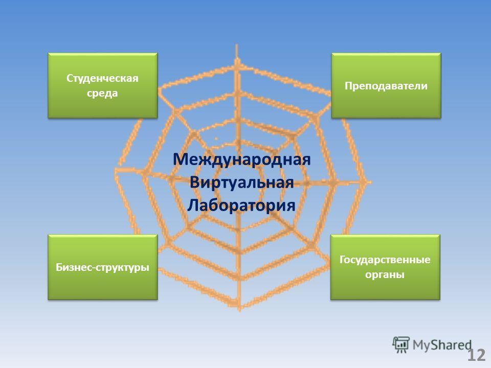 Бизнес-структуры Государственные органы Преподаватели Студенческая среда Международная Виртуальная Лаборатория 12