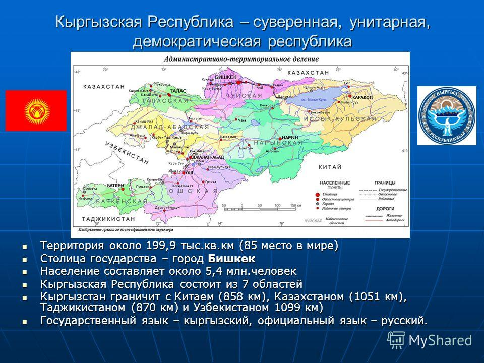 Кыргызская Республика – суверенная, унитарная, демократическая республика Территория около 199,9 тыс.кв.км (85 место в мире) Территория около 199,9 тыс.кв.км (85 место в мире) Столица государства – город Бишкек Столица государства – город Бишкек Насе