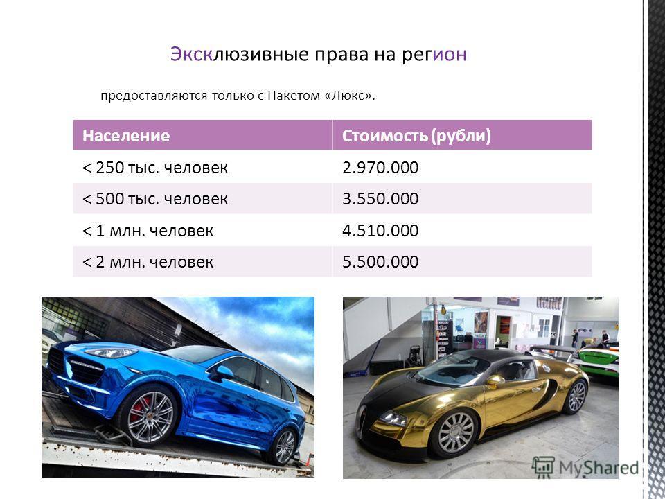 Эксклюзивные права на регион предоставляются только c Пакетом «Люкс». НаселениеСтоимость (рубли) < 250 тыс. человек2.970.000 < 500 тыс. человек3.550.000 < 1 млн. человек4.510.000 < 2 млн. человек5.500.000