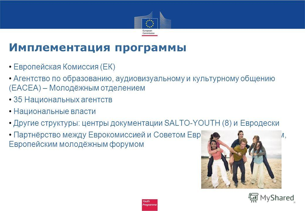 Имплементация программы Европейская Комиссия (ЕК) Агентство по образованию, аудиовизуальному и культурному общению (EACEA) – Молодёжным отделением 35 Национальных агентств Национальные власти Другие структуры: центры документации SALTO-YOUTH (8) и Ев