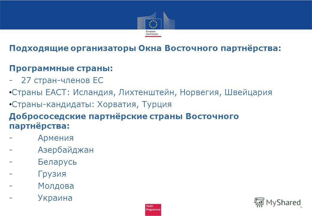 Подходящие организаторы Окна Восточного партнёрства: Программные страны: - 27 стран-членов ЕС Страны ЕАСТ: Исландия, Лихтенштейн, Норвегия, Швейцария Страны-кандидаты: Хорватия, Турция Добрососедские партнёрские страны Восточного партнёрства: -Армени
