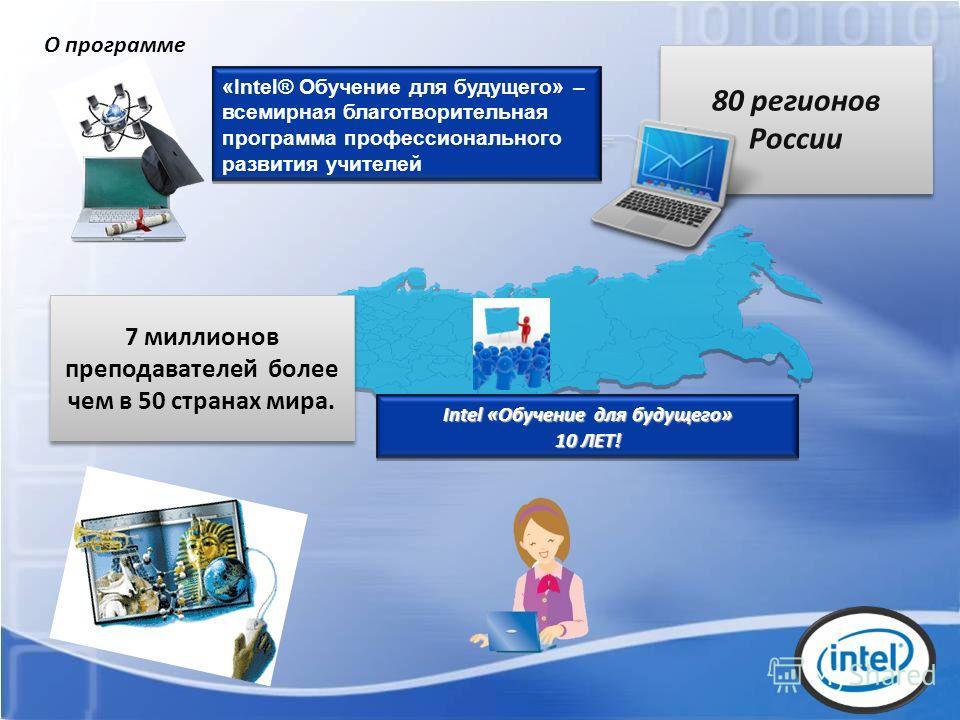 Intel «Обучение для будущего» 10 ЛЕТ! 7 миллионов преподавателей более чем в 50 странах мира. 80 регионов России «Intel® Обучение для будущего» – всемирная благотворительная программа профессионального развития учителей О программе