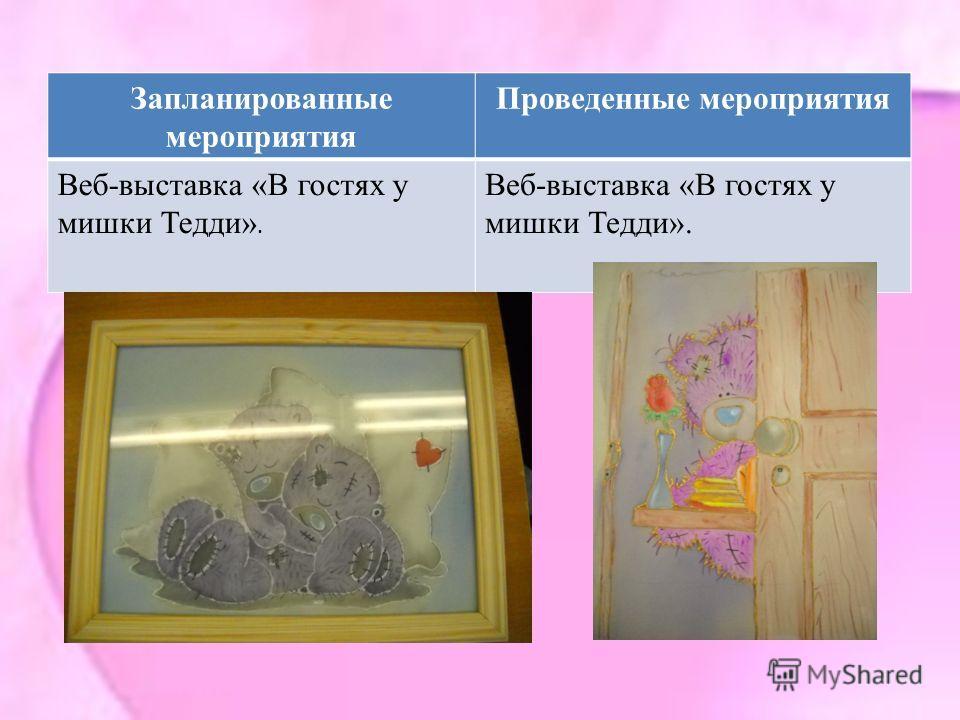 Запланированные мероприятия Проведенные мероприятия Веб-выставка «В гостях у мишки Тедди».