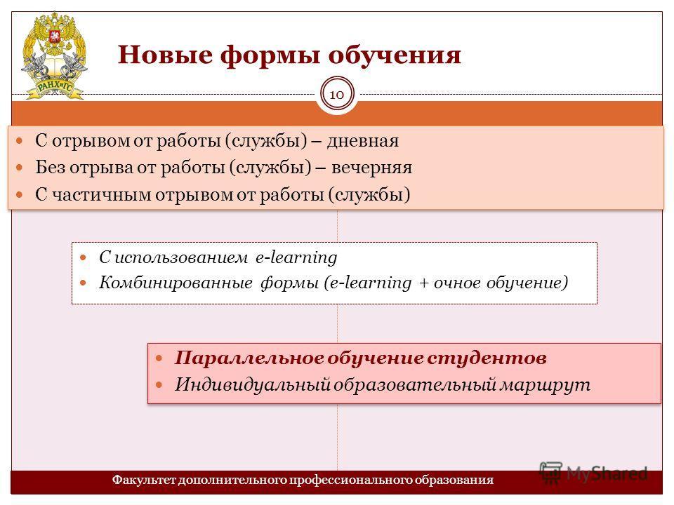 Новые формы обучения Факультет дополнительного профессионального образования С использованием e-learning Комбинированные формы (e-learning + очное обучение) 10