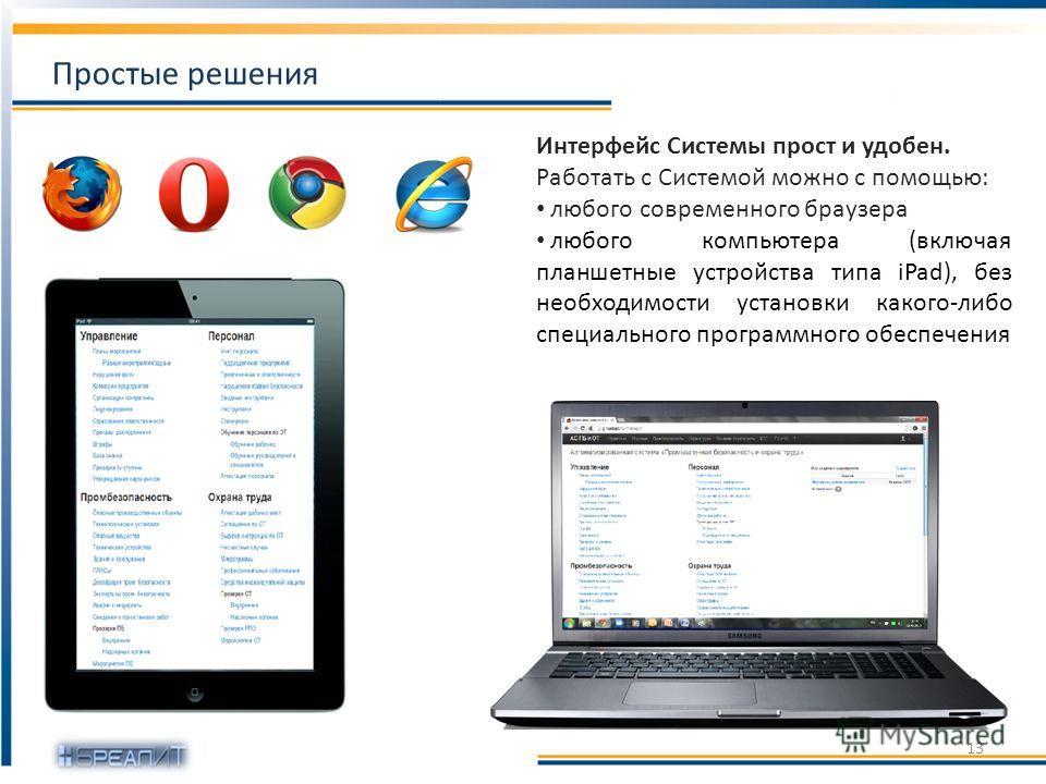 Интерфейс Системы прост и удобен. Работать с Системой можно с помощью: любого современного браузера любого компьютера (включая планшетные устройства типа iPad), без необходимости установки какого-либо специального программного обеспечения Простые реш