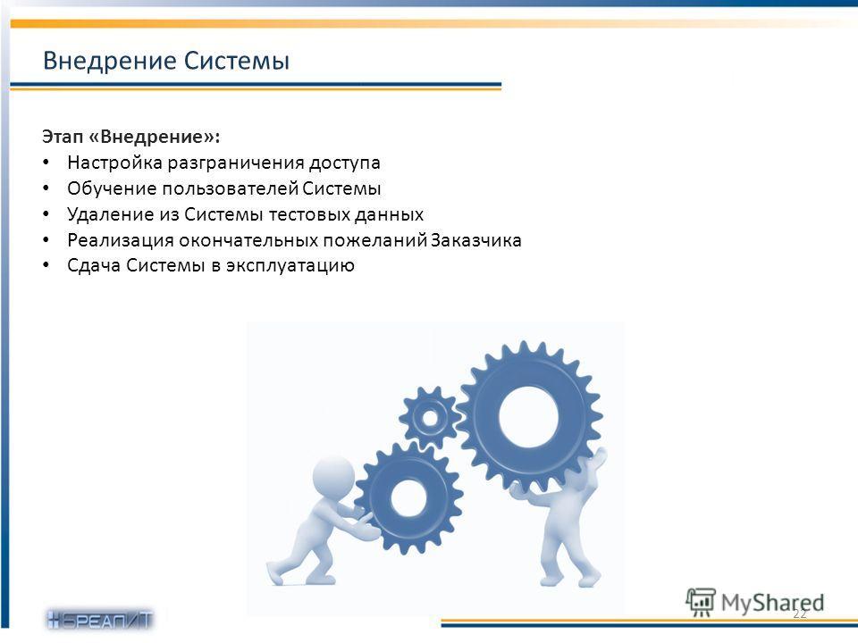 Этап «Внедрение»: Настройка разграничения доступа Обучение пользователей Системы Удаление из Системы тестовых данных Реализация окончательных пожеланий Заказчика Сдача Системы в эксплуатацию 22 Внедрение Системы