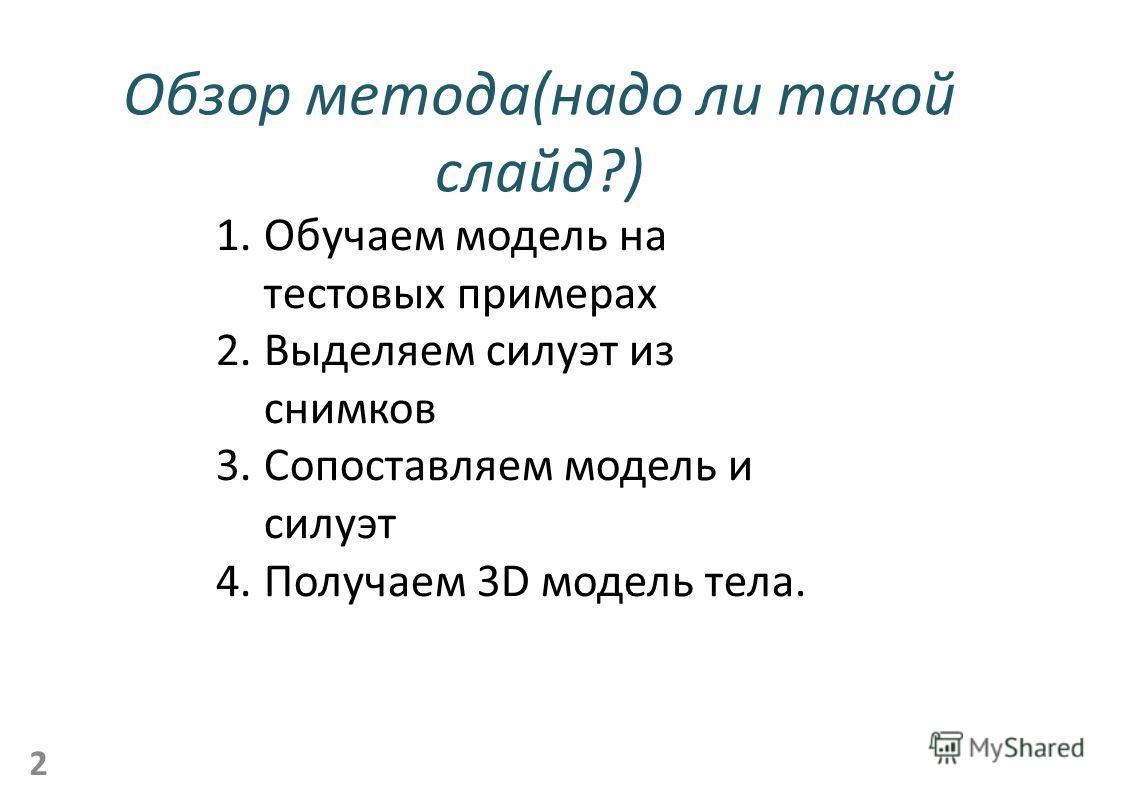 Обзор метода(надо ли такой слайд?) 2 1.Обучаем модель на тестовых примерах 2.Выделяем силуэт из снимков 3.Сопоставляем модель и силуэт 4.Получаем 3D модель тела.