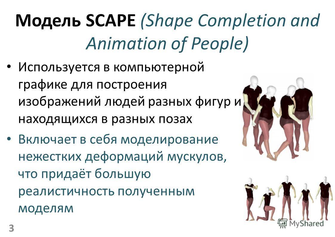 Модель SCAPE (Shape Completion and Animation of People) Используется в компьютерной графике для построения изображений людей разных фигур и находящихся в разных позах Включает в себя моделирование нежестких деформаций мускулов, что придаёт большую ре