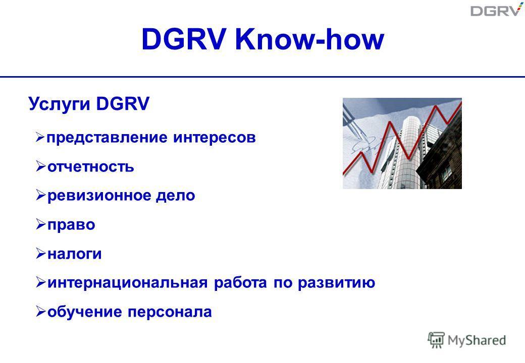 DGRV Know-how представление интересов отчетность ревизионное дело право налоги интернациональная работа по развитию обучение персонала Услуги DGRV