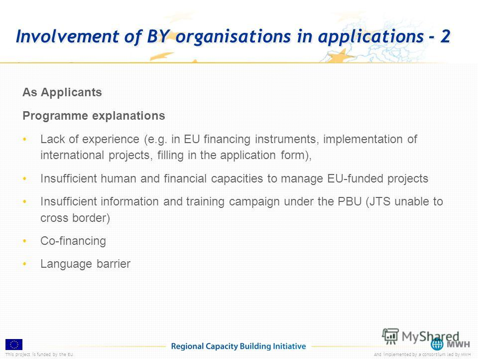 This project is funded by the EUAnd implemented by a consortium led by MWH Involvement of BY organisations in applications - 2 As Applicants Programme explanations Lack of experience (e.g. in EU financing instruments, implementation of international