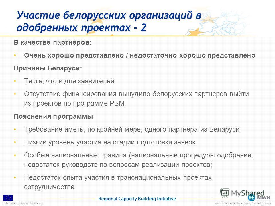 This project is funded by the EUAnd implemented by a consortium led by MWH Участие белорусских организаций в одобренных проектах - 2 В качестве партнеров: Очень хорошо представлено / недостаточно хорошо представлено Причины Беларуси: Те же, что и для