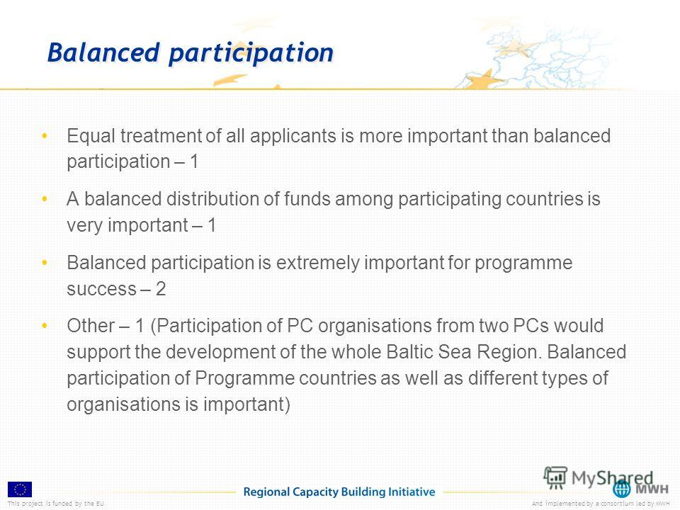 This project is funded by the EUAnd implemented by a consortium led by MWH Balanced participation Equal treatment of all applicants is more important than balanced participation – 1 A balanced distribution of funds among participating countries is ve