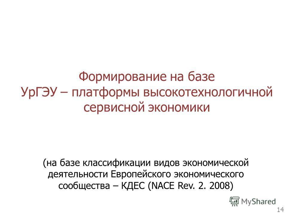 Формирование на базе УрГЭУ – платформы высокотехнологичной сервисной экономики 14 (на базе классификации видов экономической деятельности Европейского экономического сообщества – КДЕС (NACE Rev. 2. 2008)