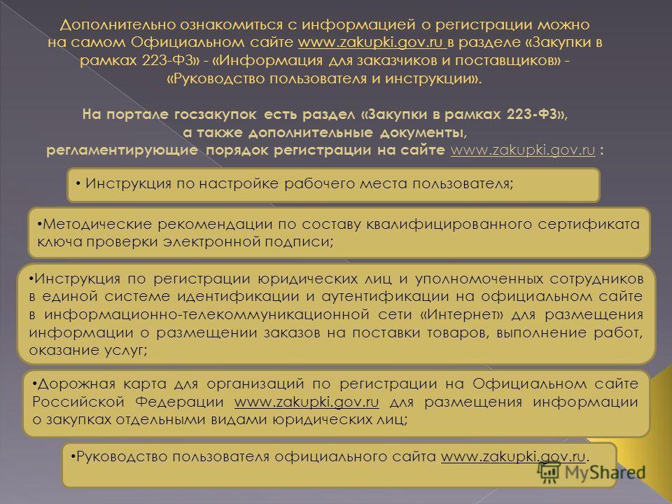Дополнительно ознакомиться с информацией о регистрации можно на самом Официальном сайте www.zakupki.gov.ru в разделе «Закупки в рамках 223-ФЗ» - «Информация для заказчиков и поставщиков» - «Руководство пользователя и инструкции». На портале госзакупо