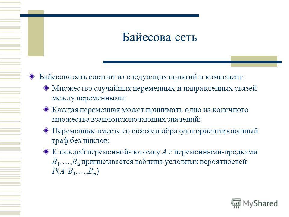 Байесова сеть Байесова сеть состоит из следующих понятий и компонент: Множество случайных переменных и направленных связей между переменными; Каждая переменная может принимать одно из конечного множества взаимоисключающих значений; Переменные вместе