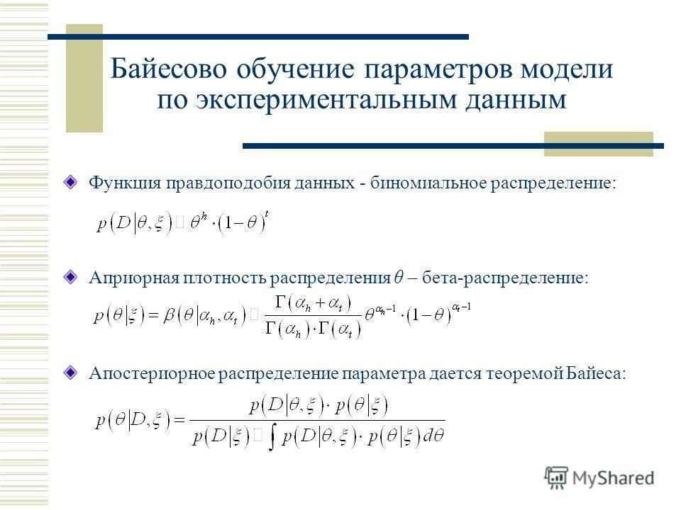 Байесово обучение параметров модели по экспериментальным данным Функция правдоподобия данных - биномиальное распределение: Априорная плотность распределения θ – бета-распределение: Апостериорное распределение параметра дается теоремой Байеса: