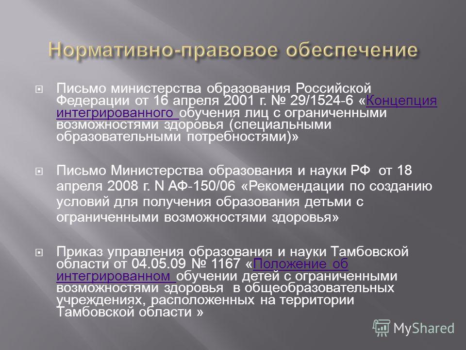 Письмо министерства образования Российской Федерации от 16 апреля 2001 г. 29/1524-6 «Концепция интегрированного обучения лиц с ограниченными возможностями здоровья (специальными образовательными потребностями)»Концепция интегрированного Письмо Минист