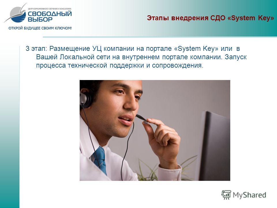 Этапы внедрения СДО «System Key» 3 этап: Размещение УЦ компании на портале «System Key» или в Вашей Локальной сети на внутреннем портале компании. Запуск процесса технической поддержки и сопровождения.