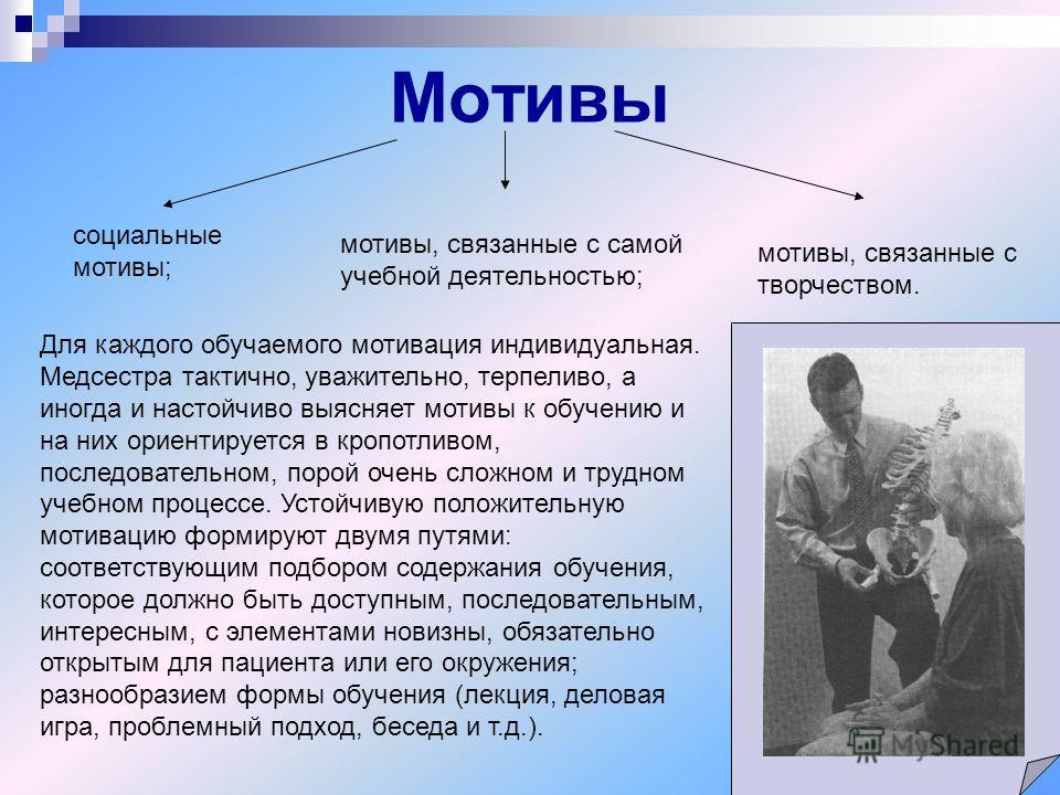 Мотивы мотивы, связанные с творчеством. социальные мотивы; мотивы, связанные с самой учебной деятельностью; Для каждого обучаемого мотивация индивидуальная. Медсестра тактично, уважительно, терпеливо, а иногда и настойчиво выясняет мотивы к обучению