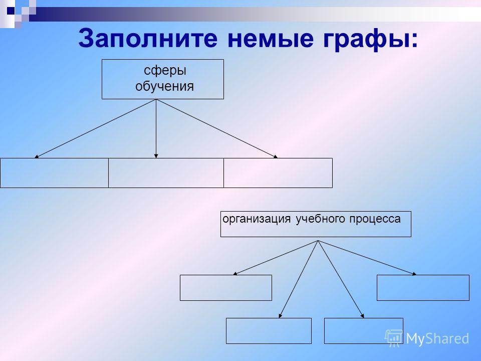 Заполните немые графы: организация учебного процесса сферы обучения