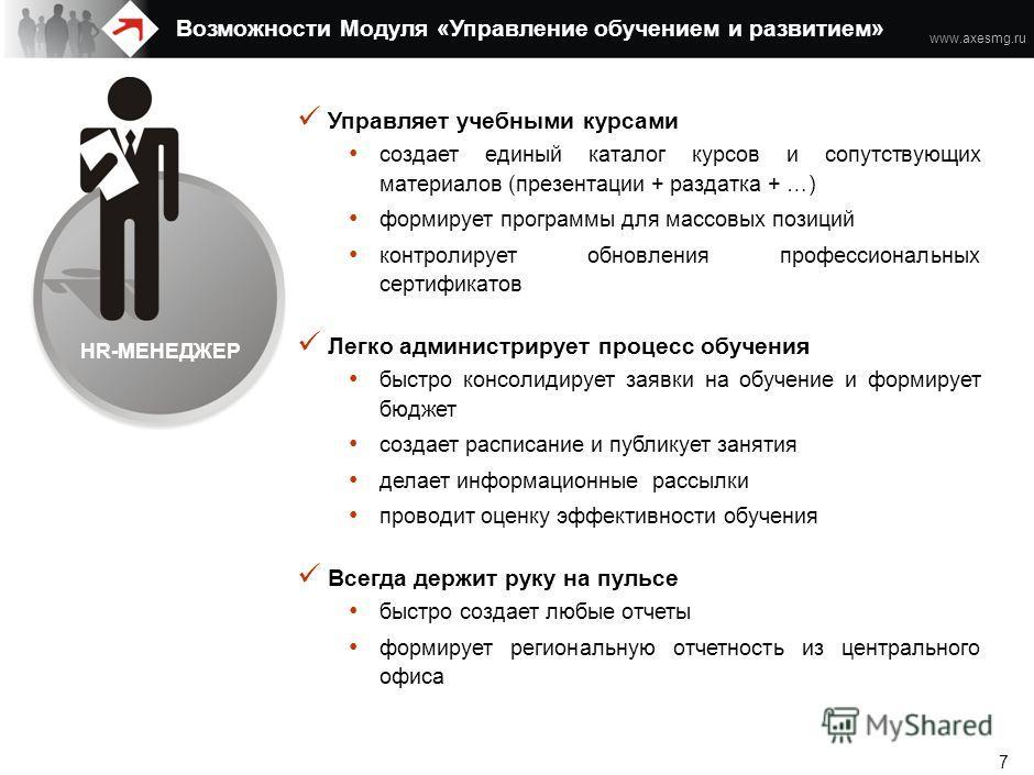 www.axesmg.ru 6 Возможности Модуля «Управление обучением и развитием» HR-МЕНЕДЖЕР Роли пользователей ETWeb Enterprise СОТРУДНИК РУКОВОДИТЕЛЬ