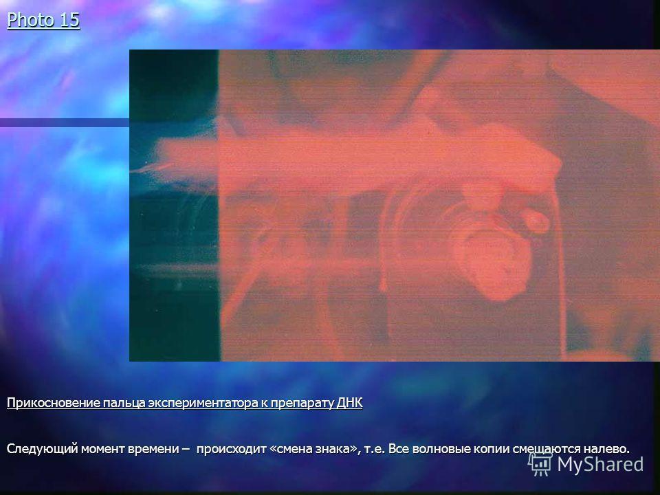 Photo 15 Прикосновение пальца экспериментатора к препарату ДНК Следующий момент времени – происходит «смена знака», т.е. Все волновые копии смещаются налево.