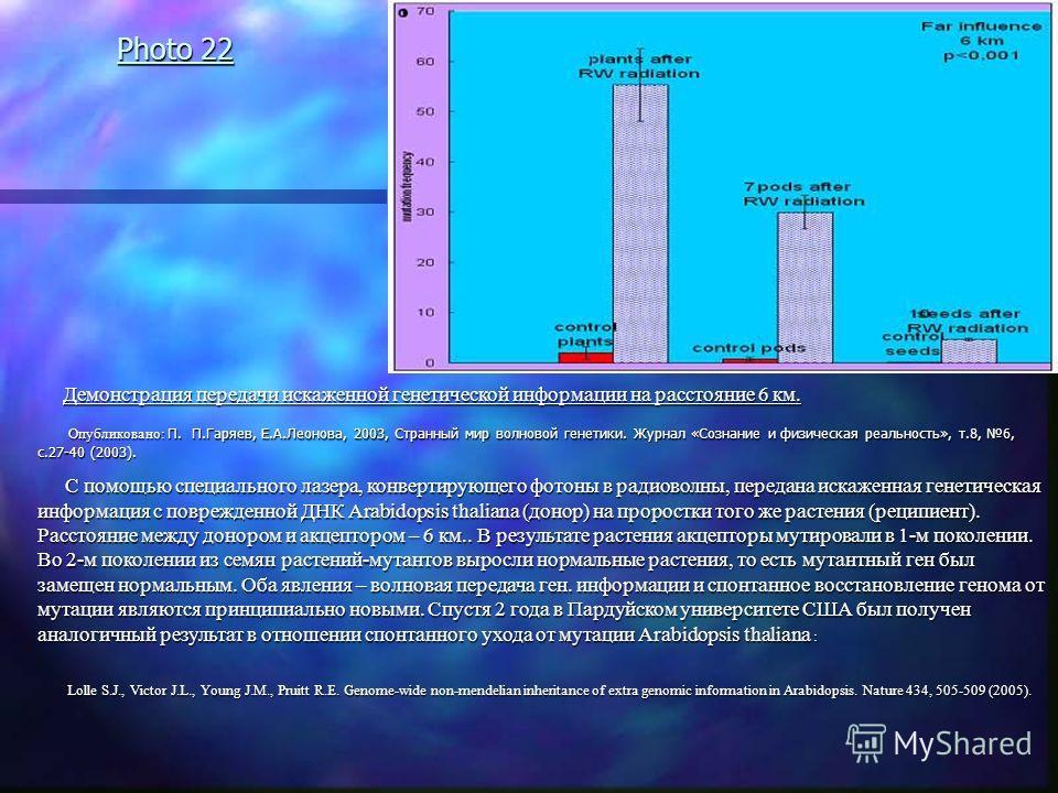 Photo 22 Демонстрация передачи искаженной генетической информации на расстояние 6 км. Демонстрация передачи искаженной генетической информации на расстояние 6 км. Опубликовано: П. П.Гаряев, Е.А.Леонова, 2003, Странный мир волновой генетики. Журнал «С