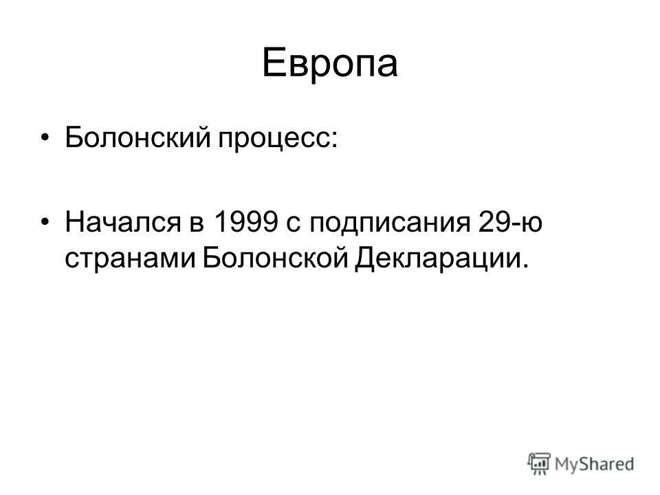 Европа Болонский процесс: Начался в 1999 с подписания 29-ю странами Болонской Декларации.