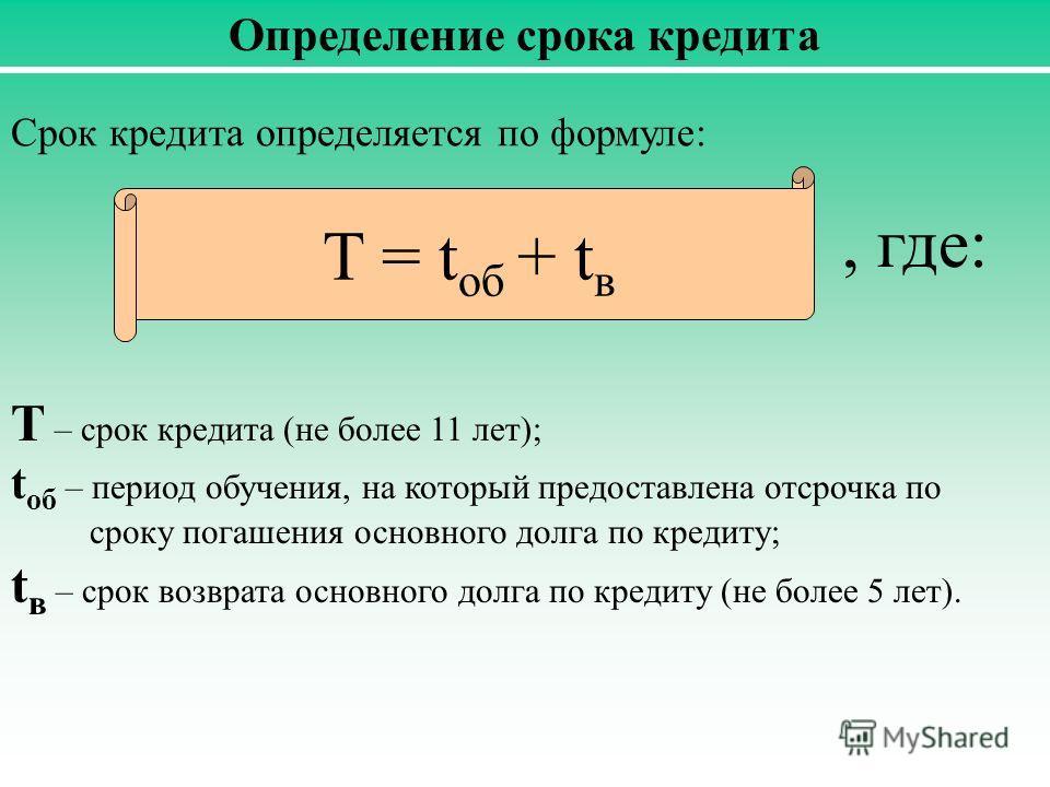 Определение срока кредита Срок кредита определяется по формуле: T = t об + t в, где: T – срок кредита (не более 11 лет); t об – период обучения, на который предоставлена отсрочка по сроку погашения основного долга по кредиту; t в – срок возврата осно