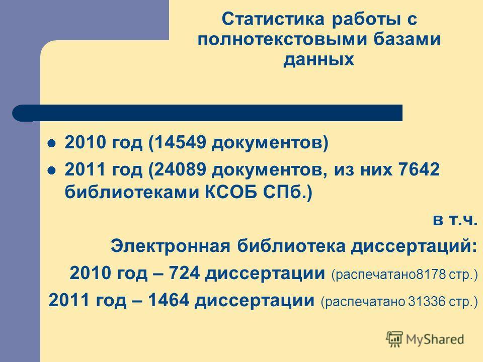 Статистика работы с полнотекстовыми базами данных 2010 год (14549 документов) 2011 год (24089 документов, из них 7642 библиотеками КСОБ СПб.) в т.ч. Электронная библиотека диссертаций: 2010 год – 724 диссертации (распечатано8178 стр.) 2011 год – 1464