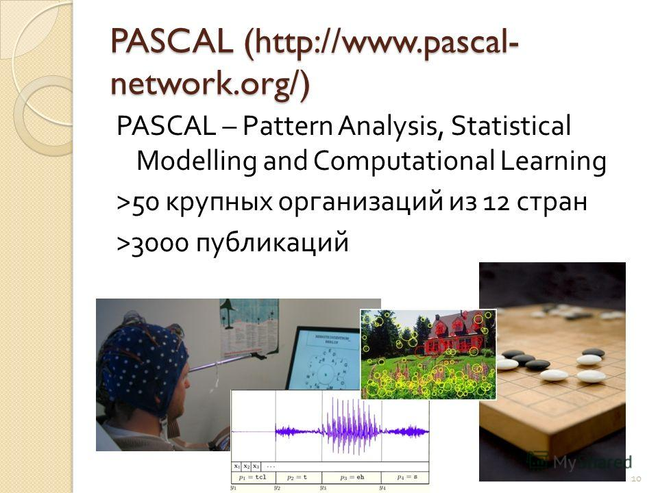 PASCAL (http://www.pascal- network.org/) PASCAL – Pattern Analysis, Statistical Modelling and Computational Learning >50 крупных организаций из 1 2 стран >3000 публикаций 10