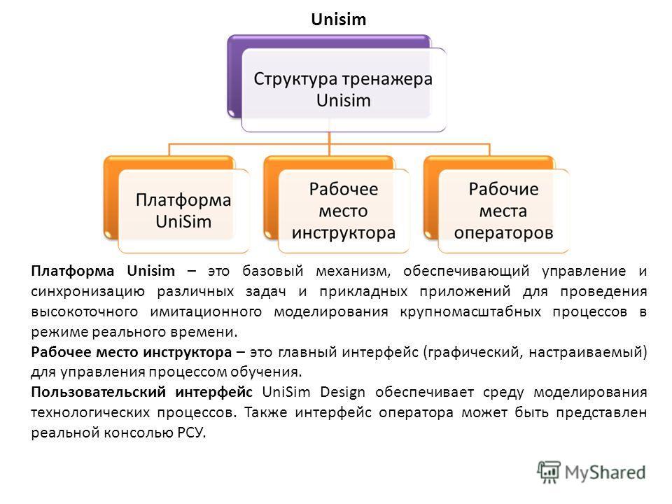 Unisim Платформа Unisim – это базовый механизм, обеспечивающий управление и синхронизацию различных задач и прикладных приложений для проведения высокоточного имитационного моделирования крупномасштабных процессов в режиме реального времени. Рабочее