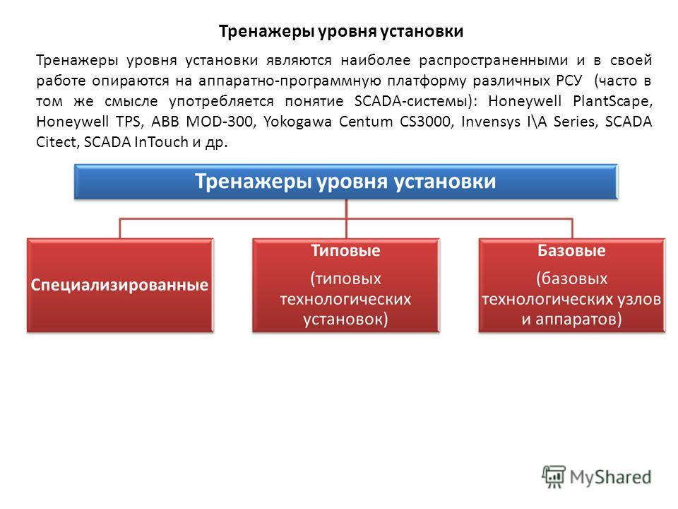 Тренажеры уровня установки Тренажеры уровня установки являются наиболее распространенными и в своей работе опираются на аппаратно-программную платформу различных РСУ (часто в том же смысле употребляется понятие SCADA-системы): Honeywell PlantScape, H