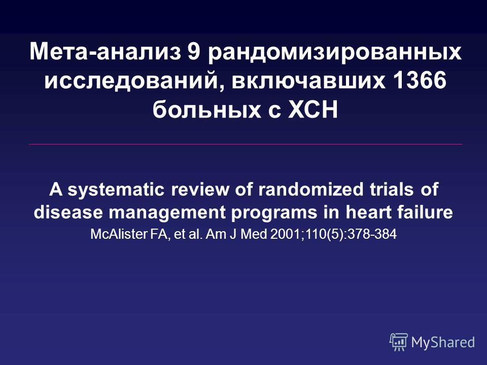 A systematic review of randomized trials of disease management programs in heart failure McAlister FA, et al. Am J Med 2001;110(5):378-384 Мета-анализ 9 рандомизированных исследований, включавших 1366 больных с ХСН