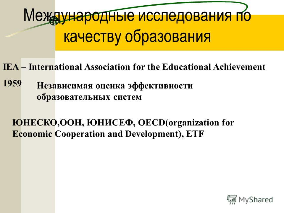 Международные исследования по качеству образования IEA – International Association for the Educational Achievement Независимая оценка эффективности образовательных систем 1959 ЮНЕСКО,ООН, ЮНИСЕФ, OECD(organization for Economic Cooperation and Develop