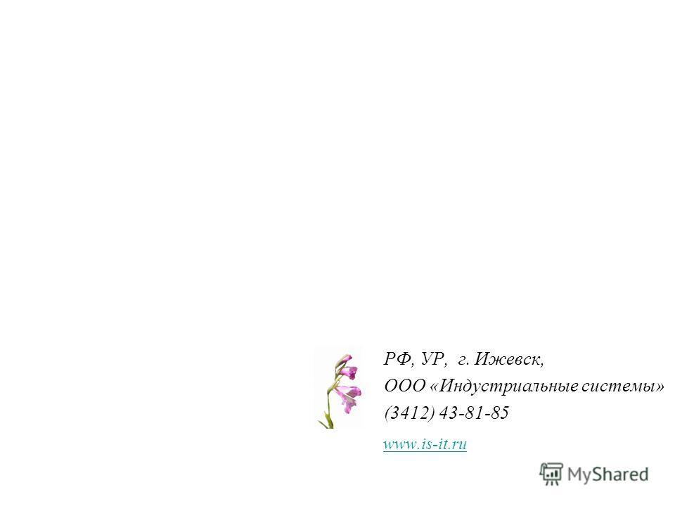 www.is-it.ru РФ, УР, г. Ижевск, ООО «Индустриальные системы» (3412) 43-81-85