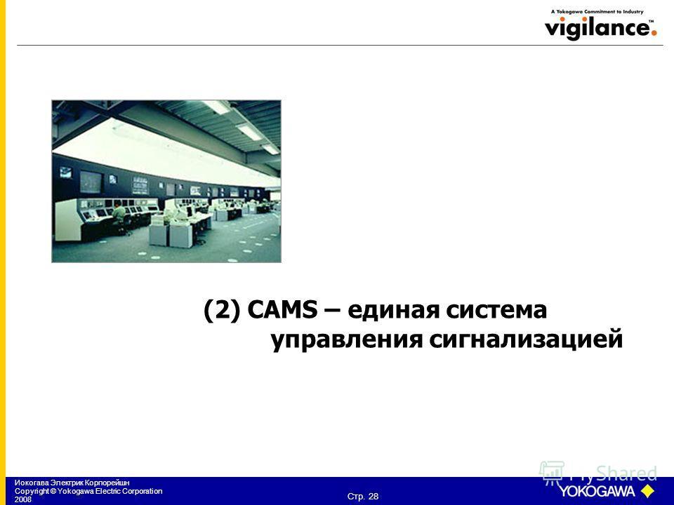 Иокогава Электрик Корпорейшн Copyright © Yokogawa Electric Corporation 2008 Стр. 28 (2) CAMS – единая система управления сигнализацией